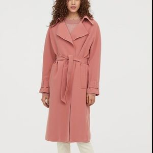 NWT H&M mauve pink trench coat size M